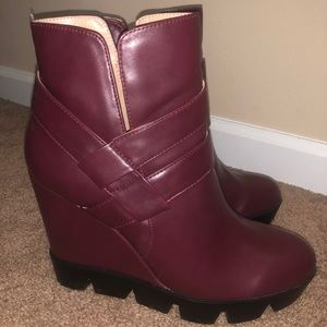 Maroon Leather Ankle Boots